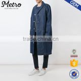 OEM blue jean jacket winter long trench coat