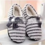 Plush Heeled Slippers with bow/ Home Soft Heeled Slippers with bow