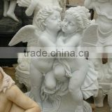 Hand carved stone angel sculpture