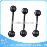Stainless steel body jewelry black anodized ball 14G cheap piercing tongue rings