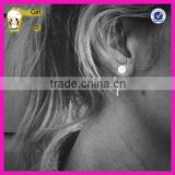 Fashion jewelry wholesale 925 sterling silver round disc ear jacket, front back earring set