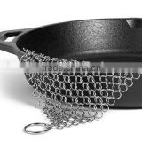 Stainless steel chainmail scrubber for cast iron cookware