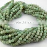 "1 Strand Natural Green Aventurine Smooth Rondelle Balls 8mm 34"" Long Beads Strand,Japa Mala,Prayer Beads Strand,108 Beads Mala"