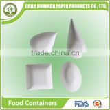 Disposable bio-degradable Finger Food Container with sugarcane pulp.