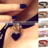 Wholesale anime rock Harajuku punk gothic heart necklace pendant leather necklace leather collar choker necklace bracelet