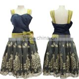 Women's Peacock Embroidery Midi Cocktail Dress Short Prom Gown With Mesh Waist Bow Tie Factory Customise