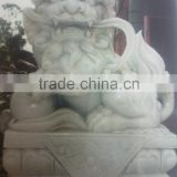 Fu dog statues white marble hand carved for home garden hotel restaurant from Vietnam No 03