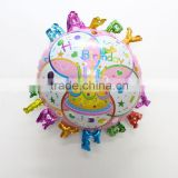 Hot sale new design roundshaped foil balloon for happy birthday Party with letters