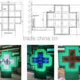 P16 LED pharmacy cross display with high brightness and high fresh rate green/double colors