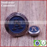 China coloured blue jeans embossed metal buttons with logo letter