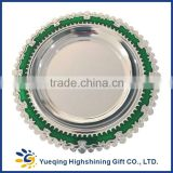 High quality blank souvenir two colors green gold award keepsake round metal award plaque                                                                         Quality Choice