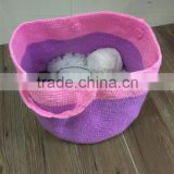 Handmade Crochet Basket, wood folding basket