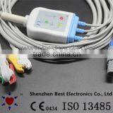 CE Approved ECG 3 lead Cable and Leadwires Clip IEC ODU4 pin 80degree compatible wtih Charmcare Prizm 3