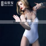 Balneaire white color sexy women one piece swimsuit