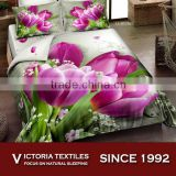 2015 NEW spring purple flower 5D printed home textiles bedding sets 4pcs