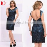 Short sleeve chiffon blue short cocktail dress with sequins vintage short evening dresses
