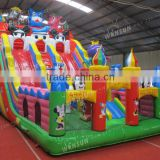 colorful kids inflatable blue cat jumping castle,inflatable games for amusement park ,obstacle toys