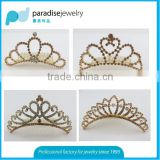 Bridal mental rhinestone gold tone hair crown in wholesale factory price