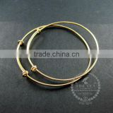 65mm diameter brass 14K gold plated simple wiring bracelet for beading DIY jewelry supplies 1900036
