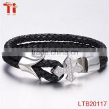 leather bracelet cross stainless steel wholesale sideways cross bracelet cross bracelet