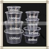280ml 300ml 450ml 500ml 625ml 750ml 800ml 1000ml Clear Plastic PP jar Round Fast Food Disposable Bowl Disposable Tiffin Boxes
