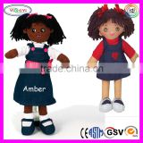 B054 Real Black Girl Doll Stuffed Fashion African Rag Girl Make Real Doll
