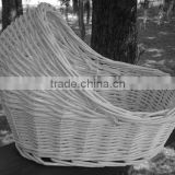 Wholesale White Vintage Wicker Bassinet for Baby Shower Decoration