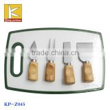 4PCS Stainless steel knife steel blade with wood handle plastic cutting board cheese knife set