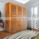 Furniture For Bed Room,Cabinet Solid Teak Wood ,3 Doors With Louvre, With Shelves and Drawers Inside