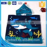 Alibaba Trade Assurance ring spun cotton screen printing terry cloth poncho hooded beach towel