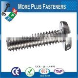 Made in Taiwan Black Nylon Combination Phillips Slotted Drive Polycarbonated Stainless Steel Binding Head Machine Screw