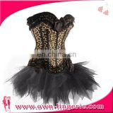 Fashion Leopard Animal Printed Hot Selling Corset and Dress lace decoration black tutu skirt
