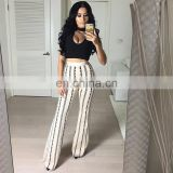 Amigo 2017 new design two piece sexy party wear bandage pants suit with Black sleeveless halter crop top and bodycon trouser