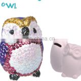 2015 fashion sequin ceramic money bank for kids---owl