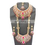 Beautiful Indian Style Colorful Pink Pearl & Gold Raani Necklace with Earring Tikka