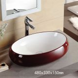 Fashion red color ceramic bathroom hotel countertop oval big size sinks