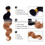factory wholesale online cheap ombre hair extension ombre color 1B/30 remy hair 100 human hair