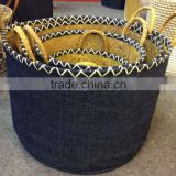 High quality best selling eco-friendly Set of Natural seagrass baskets with covered cloth from Vietnam