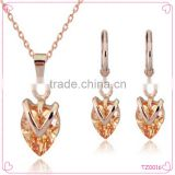 2015 Heart shape necklace earring fashion jewelry set with high quality luxury necklace set