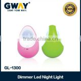 "New ABS plastic Body with different color,Mini night table light,3 SMD egg model light,new style ""Daruma"""