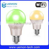 Led bulb new product energy saving wifi led light bulb indoor aluminum RGB colorful wifi light