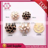 Black white color fancy flower metal sewing machine button for coat in 23MM
