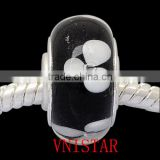 Vnistar silver plated single core broadside black glass beads with white flowers PGBW004, size in 6*12mm