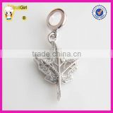 Big Sale Maple Leaf charm with Clear Stone 925 sterling silver pendant Charms Bead Wholesale