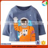 100% cotton blue color spaceman print t-shirt kids clothes boys t shirt                                                                         Quality Choice