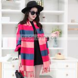 winter hot selling best price colorful stripes oversized 100%viscose pashmina shawl and scarf, knitting scarves with tassels