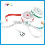 High Quality Retractable Round BMI Calculator Measuring Tape with aluminum compass