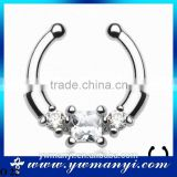 Metal Alloy Septum Clicker CZ Daith Nose Ring Body Piercing Hanger Clip On Fashion Jewelry O 22
