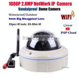 108p 2mp dome wifi ip camera with night vision hd