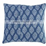 Indigo Block Print Cushion Cover Indian Reversible Pillows Cotton Handmade Decorative Shams Throw 16X16 Cushions
